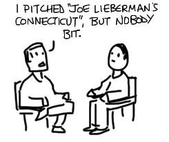 Burnett tells Solis, I pitched 'Joe Lieberman's Connecticut, but nobody bit.