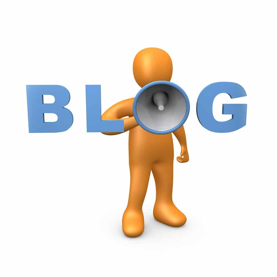 3d person holding a megaphone forming the word blog.