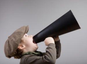 kid screaming into bullhorn
