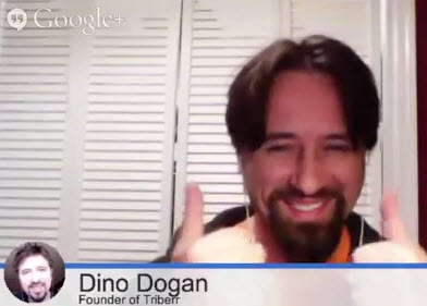 Dino Dogan gives a smile and a thumbs up as he shares podcasting secrets on a Google Hangout