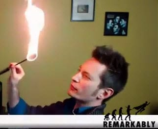 Roderick Russell eating fire on a Google Hangout with NMX